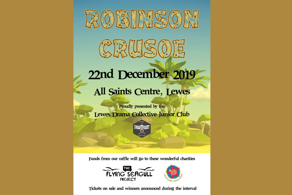 Robinson Crusoe Charity Poster Lewes Drama Collective