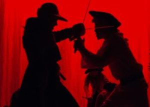 Treasure Island Captain Smollet and Long John Silver clash with swords in a bloody battle