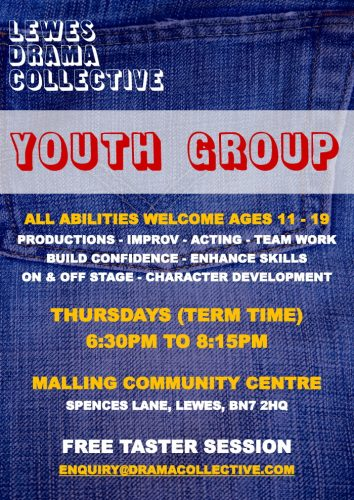 Lewes Drama Collective Thursday Youth Group Poster 2021 700px