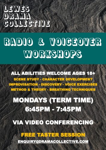 Lewes Drama Collective Adults Radio Voiceover Workshops Poster 1000px